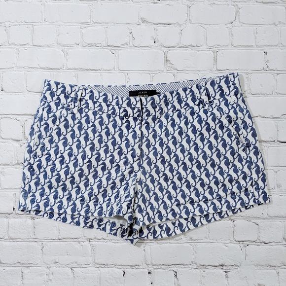 J. Crew Pants - J. Crew Chino White Navy Seahorse Shorts